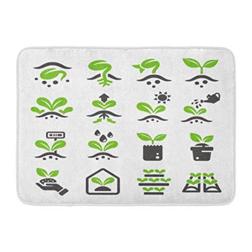 SUPERQIAO Fußmatten Bad Teppiche Outdoor/Indoor Türmatte Grüne Samen Sprosse Pflanze wachsen Samen Baum Erde Zeichen Badezimmer Dekor Teppich Badematte