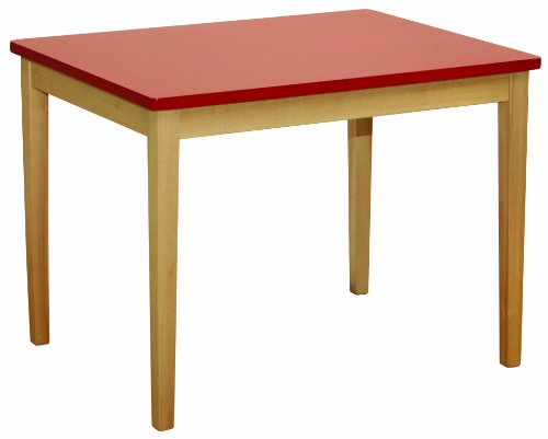 Roba kindertafel, gemaakt van massief hout, tafelblad rood gelakt