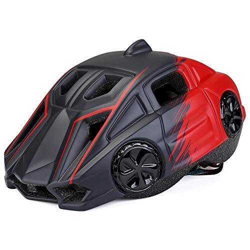 Lichtgewicht kinderhelm, outdoor fietshelm, stootbestendig/zonnebestendige fietshelm, goede ademende werking, waarschuwingslicht 's nachts, voor kinderhoofdomtrek 48-52 cm verstelbaar. zwart, rood