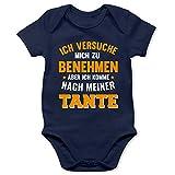 Shirtracer Statement Sprüche Baby - Ich versuche Mich zu benehmen Aber ich komme nach meiner Tante orange - 1/3 Monate - Navy Blau - Tante Geschenk - BZ10 - Baby Body Kurzarm für Jungen und Mädchen