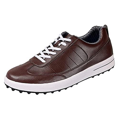 Zapatos De Golf para Hombres, Zapatos De Entrenamiento De Golf Sin Clavos, Zapatillas De Golf Profesionales A Prueba De Agua Al Aire Libre Antideslizantes para Caminar,Marrón,42 EU