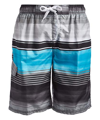 Kanu Surf Men's Echelon Swim Trunks (Regular & Extended Sizes), Avalon Black/Aqua, Large
