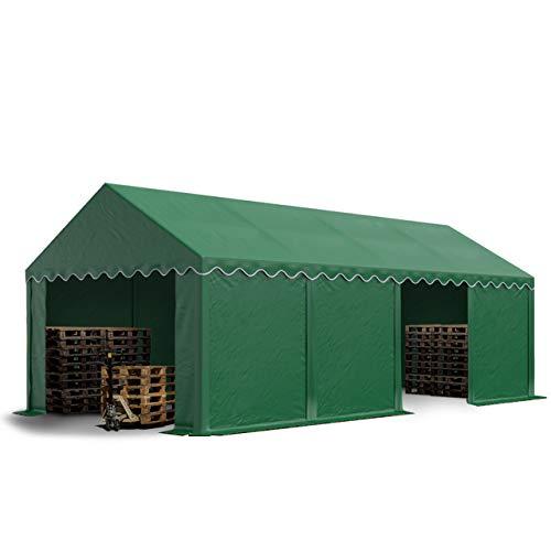 TOOLPORT Tente de Stockage 4x8 m Economy Toile PVC env. 500 g/m² Vert Fonce imperméable Protection Contre Les Rayons UV (80+) Structure Robuste