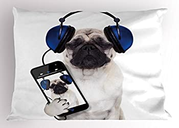 Ambesonne Pug Pillow Sham Dog Listening Music on The Smartphone Groovy Cool Headphones Animal Funny Image Decorative Standard Queen Size Printed Pillowcase 30  X 20  Navy Blue