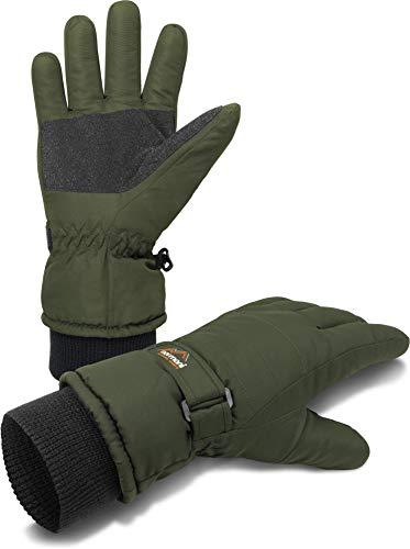 wasserdichte Snowboard- und Skihandschuhe/Winterhandschuhe mit warmen Fleece Innen für Damen und Herren Farbe Oliv Größe S