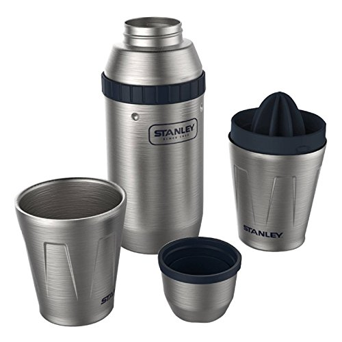 Stanley Adventure Series Happy Hour System 2X Stainless Steel .59 Liter Shaker .20 Liter Cups 18/8 Rocks Glasses Citrus retamer Nest Inside Shaker Double Wall Steel Rocks Glasses Unbreakable