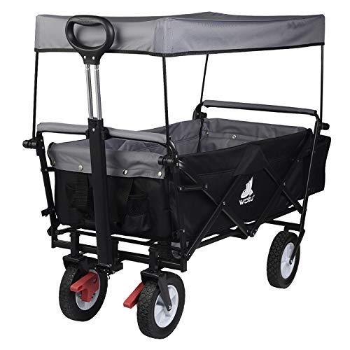 WOLTU Bollerwagen faltbar Handwagen Gartenwagen mit Dach, Rollen mit Bremse, Strandwagen mit Sonnenschutz, für den Garten Camping Kinder, 80 kg belastbar, Anthrazit, TW007ang
