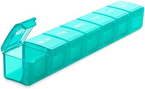 Extra Large Pill Organizer, Sukuos Weekly Pill Box, Pill Case, Medicine Organizer for Vitamins, Fish Oils or Supplements (Black)