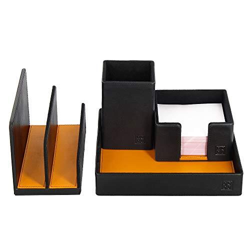 DUDU Schreibtisch-Set aus Leder für das Büro 4-teilig mit Taschenleerer Stifthalter Briefhalter Zettelbox Schwarz