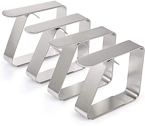 Happylife Tischdeckenklammer, 10er-Set Extra Dick & Stark (1.6mm) Edelstahl(Größe: 6,53 x 1,51 x 4,98 cm) Cuisine Tischtuchhalter, Tischtuchklammern