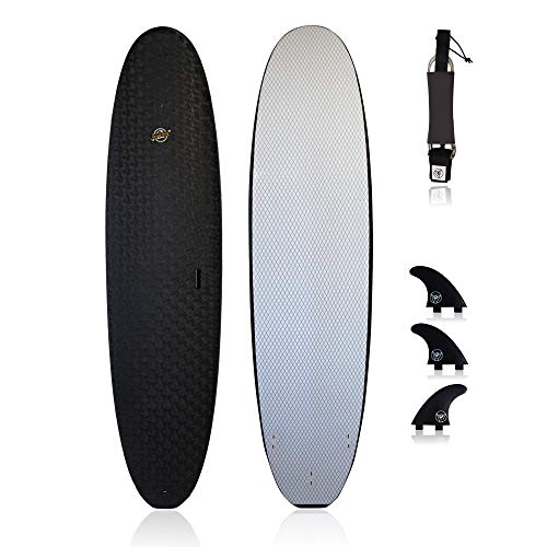 Premium Surfboard for Beginners – Wax-Free Soft-Top Foam Surfboard – 8' Verve Black with 3 Thruster Fins, Fin Key, and 7' Leash – Custom Beginner Shape for Easier, Better Surfing for Adults & Kids
