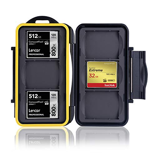 Ares Foto® Caja de protección • Almacenamiento de Tarjeta de Memoria para 6 CF Cards (Compact Flash Cards) • Funda Guardar Porta Caja Bolsa. Revestimiento de Goma Integrado: Impermeable.