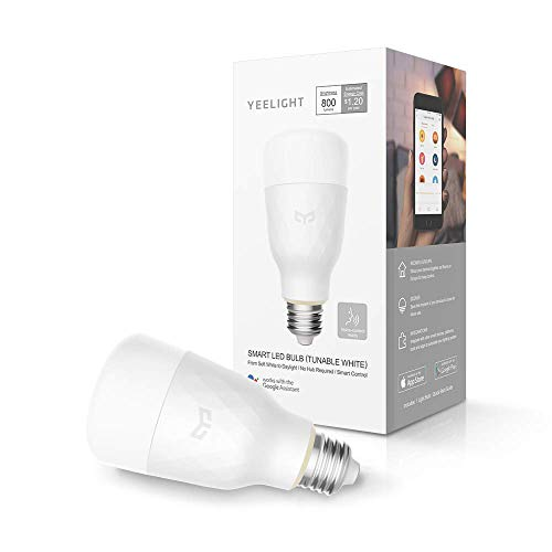 YEELIGHT Lemon Smart LED Wifi ampoule 10W E27 800lm pas d'ampoules d'éclairage Hub travailler avec Alexa, Assistant Google (TUNABLE BLANC)