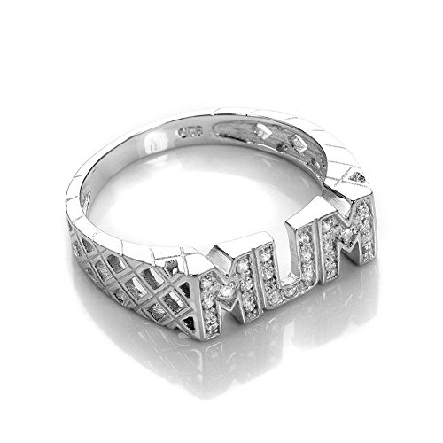 Sterling Silver Crystal CZ Mum Ring Size M (K - R Available)