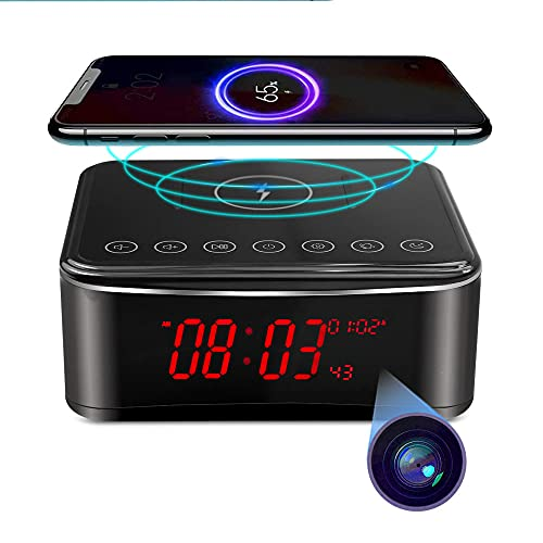 Hidden Spy WiFi Camera with Alarm Clock,Bluetooth Speaker,Wireless Charger,Nanny cam with Phone App,Stronger Night Vision,160° Wide-Angle Fisheye Lens,Motion Activated, for Indoor/Home Security