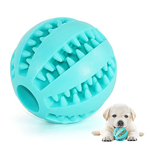 Hundespielzeug Ball,Ungiftiger Naturkautschuk Spielzeug Ball,Hundeleckerli Treat Feeder Zahnpflege Kauzahnreinigungsball,IQ-Trainingsball