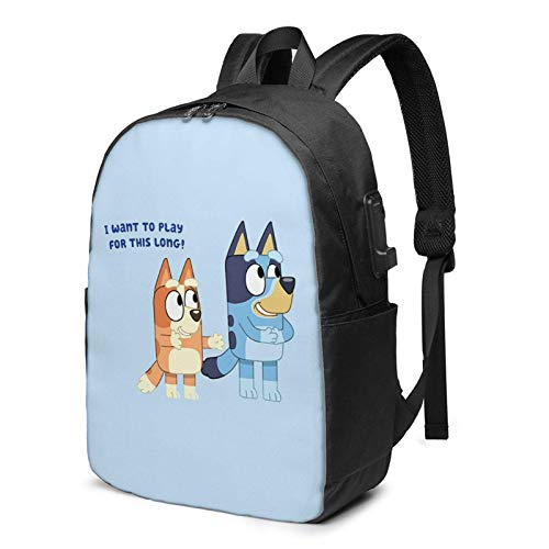 IUBBKI Men Women Packable Backpack with USB Charging Port, anti theft compartment Work Bag, Rucksack Daypack for Outdoor Shopping Laptop, Cartoons Blu-ey