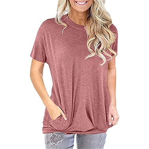 WXDSNH Camiseta De Bolsillo para Mujer Color Sólido Cuello Redondo Suelto Camiseta De Manga Corta Verano Casual
