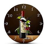 DJDLNK Rouge Et Blanc Vin Cave Ivoire Moderne Cuisine Horloge Murale Bouteilles Verres À Vin avec Raisins Maison Bar Taverne Horloge Murale