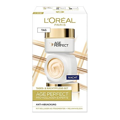 L'Oréal Paris Straffendes Gesichtspflegeset für reife Haut mit Anti-Aging Tagespflege und Nachtpflege gegen Altersflecken, Mit Kollagen-AS-Fragmenten, Age Perfect Pro-Kollagen Experte, 2 x 50 ml