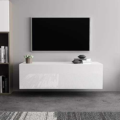lyrlody Fernsehschrank, 100 cm Wandmontage TV Lowboard TV Board Hängeschrank Hängeboard Wohnwand TV-Schrank Fernsehtisch mit Abstellraum, Anzug für zu Hause Schlafzimmer, Wohnzimmer, büro(weiß)
