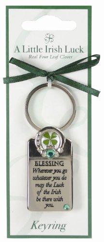 Four Leaf Clover Irish Blessing Keyring