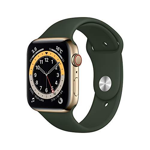 最新 Apple Watch Series 6(GPS Cellularモデル)- 44mmゴールドステンレススチールケースとキプロスグリーンスポーツバンド