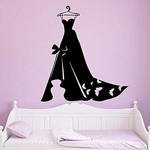 Pegatina De Pared Arte De Pared Vestido De Noche Para Mujer Papel Tapiz Decoración Del Hogar Etiqueta Para Dormitorio Armario Mural Negro 58X63Cm