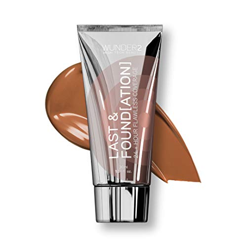 WUNDER2 LAST & FOUNDATION Makeup 24+ Hour Liquid Foundation Full Coverage Waterproof with Hyaluronic Acid, Color Chocolate