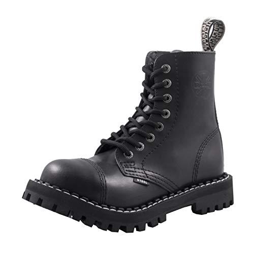 Steels 8 Loch Boots Schwarz, Grösse 43
