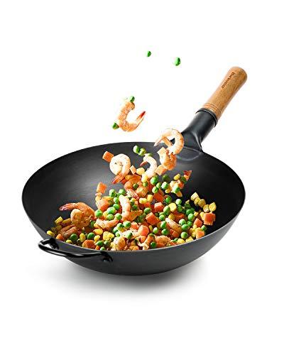 Bielmeier Pow Wok Pan 134quotChinese Black Carbon Steel WokAsian Woks and Stir Fry Pans Round Bottom