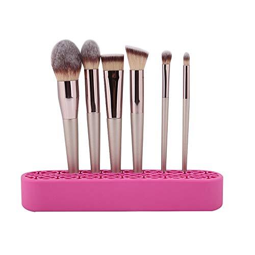 Porte-stylo à ongles, présentoir pour pinceaux à maquillage, étuis à ongles en silicone souple, porte-pinceaux à maquillage, vitrines, étuis à manucure(Rose rouge)