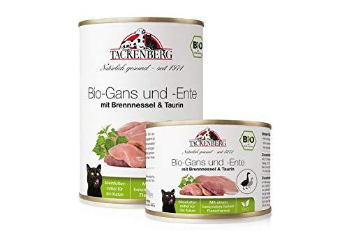 Tackenberg Katzenfutter, Nassfutter Katze, 100% Bio Gans und Ente mit Taurin, Premium Dosenfutter