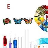 Kit de bordado de hilo de punto de cruz Hilos de colores Puntada de aro de bordado mágico Punzón de aguja Set de kit de costura DIY, E