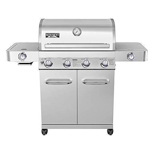 Monument Grills 24367 4-Burner Stainless Steel Propane Gas Grill with Side & Side Sear Burners, Built in Thermometer, and LED Controls
