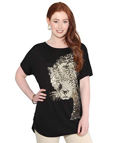 Damen T-Shirt Tierdruck Leoparden Animal Print Top; Schwarz (3277); 36; 3277-BLK-08