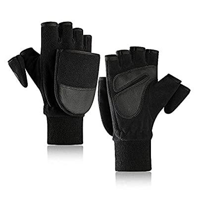 LYDIANZI Stretch Convertible Fäustlinge - Handschuhe, Fäustlinge, halbe Finger-Handschuhe, Plus Samt Padded Outdoor Sports Handschuhe, Fotografie Camping warme Handschuhe