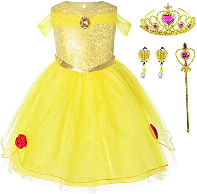 Princess Beauty Costume Birthday Party Dress for Toddler Girls 2-6 Years