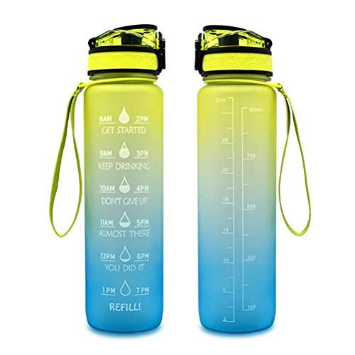 FreshWater Botella de agua con pajita, botella de agua motivacional de 1 litro con marcador de tiempo, jarra de agua de flujo rápido a prueba de fugas, botella para viajes deportivos