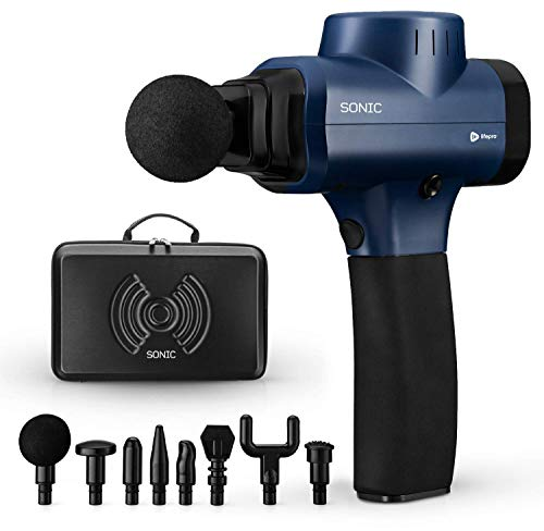 Sonic Handheld Percussion Massage Gun - Deep Tissue Massager for Sore Muscle and Stiffness - Quiet, 5 Speed High-Intensity Vibration - Quick Rechargeable Device - Includes 8 Massage Heads (Blue)