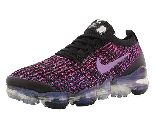 Nike Women's Air Vapormax Flyknit 3 Shoes (6.5, Black/Racer Blue/Laser Fuchsia)