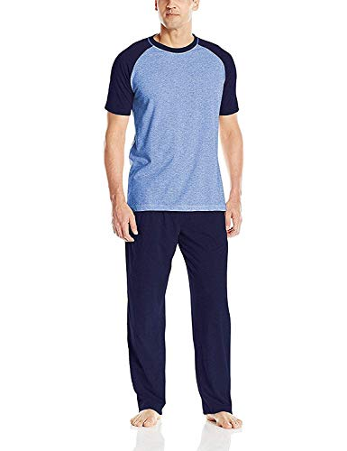 Hanes Men's Adult X-Temp Short Sleeve Tagless Cotton Raglan Shirt and Pants Pajamas Pjs Sleepwear Lounge Set - Blue (X-Large)