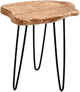 NBWOOD Natural Edge Side Table, Live Edge End Table with 3 Hairpin Legs, Nightstand Plant Stand for Bedroom and Living Room(19