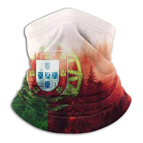Haloxa Seamless Face Mask Bandanas Neck Warmer Scarf Gaiter Portugal Flag With Forest For Dust Outdoors Festivals Sports Windproof Men And Women