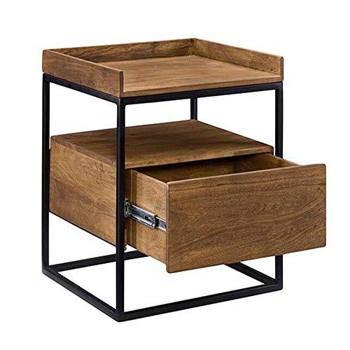 Harige industriële stijl nachtkastje met 1 lade retro salontafel massief hout kleine vierkante tafel ijzer frame 2 dimensie