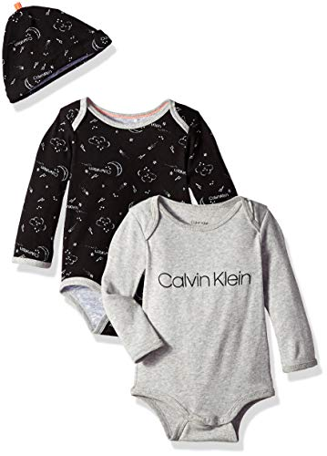 Calvin Klein Baby Boys' Long Sleeve 2 Pack Bodysuit with Hat, Girl-Heather Grey, CK Classic White, 18-24 Months