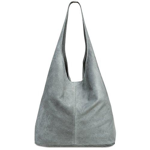 Caspar TL767 großer Damen Leder Shopper, Farbe:hell grau, Größe:One Size