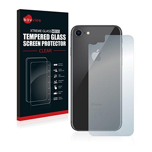 Savvies Panzerglas kompatibel mit iPhone 7/8 (Rückseite) - Echt-Glas, 9H Härte, Anti-Fingerprint