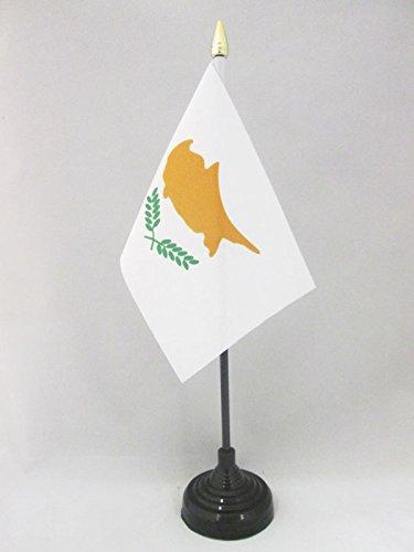 AZ FLAG TISCHFLAGGE ZYPERN 15x10cm goldene splitze - ZYPRIOTISCHE TISCHFAHNE 10 x 15 cm - flaggen