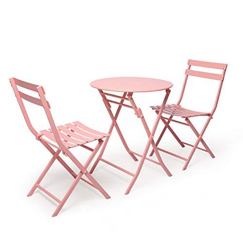 Hmcozy Gran Patio de Primera Calidad de Acero Patio Bistro Set, Juegos al Aire Libre Plegable de Muebles para Patio, 3 Piezas Juego de Patio Patio Plegable Mesa y sillas,2